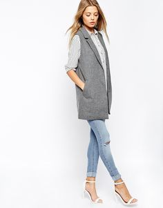Vila  | longline sleeveless blazer vest in gray | $85