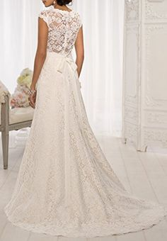 Harshori V Neckline A Line Cap Sleeve Lace Over Satin Wedding Dress $55.00 - $158.99
