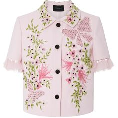 Georges Hobeika Floral Embellished Jacket (12.715 RON) ❤ liked on Polyvore featuring outerwear, jackets, short sleeve jacket, floral print jacket, embellished jacket, flower print jacket and floral jackets