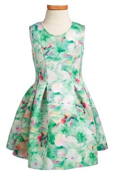 Halabaloo Floral Scuba Fit & Flare Dress (Toddler Girls, Little Girls & Big Girls) available at #Nordstrom