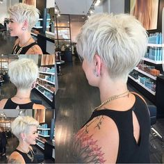 "If you love pixies like @lyndee_hairlove_marie cut go follow @nothingbutpixies. Hair dresser is @jessattriossalon [ ""If only I could pull this off!WEBSTA @ nothingbutpixies - A full 360 of pixie cut."", ""Can I have a similar cut in the back to truly exaggerate my front A-line length? -- WEBSTA @ nothingbutpixies - A full 360 of pixie cut."", ""30 Hottest Pixie Haircuts 2017 - Classic to Edgy Pixie Hairstyles for women"", ""Pixie cut is an appealing, daring and modern short haircut for wome..."