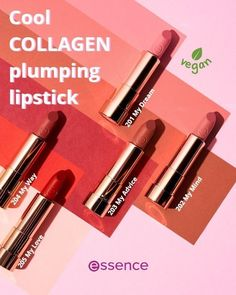 """The vegan """"Cool COLLAGEN plumping lipstick"""" by essence in 5 wounderful shades is enriched with hyaluronic acid. Thanks to its smooth texture, it feels nourishing and super soft on the lips. At the same time, a light tingling effect provides a pleasant boost of freshness. Plumping Lipstick, Liquid Lipstick, Essence Makeup, Vegan Makeup, Alcohol Free, Hyaluronic Acid, Frosted Glass, Lipsticks, Eyeshadow Palette"""