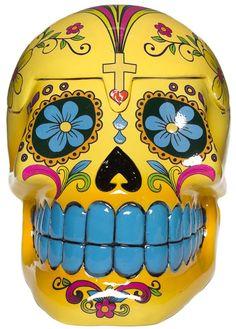 Yellow sugar skull box.