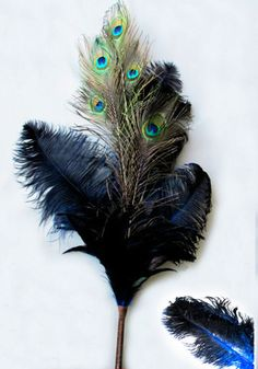 OSTRICH FEATHER Plume CENTERPIECE, BLUE with peacock, per EACH