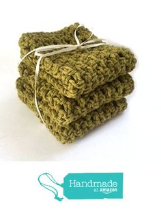 Kitchen Dish Cloths Olive Green Cotton Set of 3 Handmade Crochet http://www.amazon.com/dp/B01EEG8IXG/ref=hnd_sw_r_pi_dp_m74sxb1XXB2A4 #handmadeatamazon