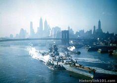 French Battleship Richelieu @ New York, September 1943. (Rare Color)