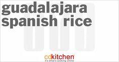 A recipe for Guadalajara Spanish Rice made with lard, rice, water, green bell pepper, onion, tomato, chicken bouillon granules, ground