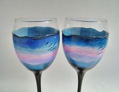 Glass wine glasses Set 2 Romance glasses Glasses for by KonyArt