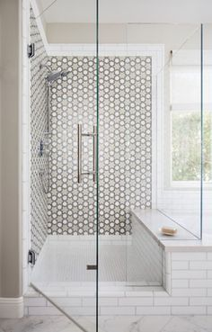 Oceanside: Tessera Fez pattern with specific placement colors Platinum Irid, White Non-Irid and Oxygen Irid.  Design by:  Cathy Aroz  Installation:  Grant Jones - Jones Custom Tile & Stone  Photography:  Chipper Hatter