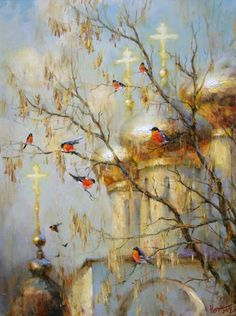 Bullfinches, by Russian artist Stepan Nesterchuk (1978)
