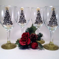 Hand Painted Christmas WIne Glasses with Crystal Accents and Gold Glitter Base
