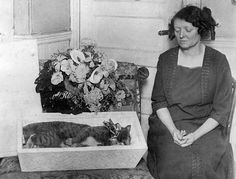 "1925-Boston- Owner Carrie Buck of the South End mourning her pet cat ""Tommie"" which died several days ago. All the funeral honors and ceremonies usually accorded to a human were bestowed on the cat. The cat died of a broken heart after Miss Buck's pet dog, the cat's constant companion, died."