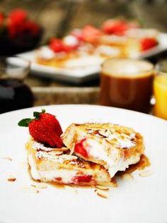 Strawberry Almond Stuffed French Toast via @savorysweetlife by Caroline C. ❦