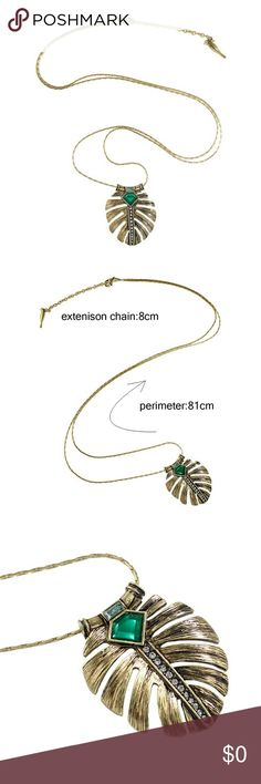 Coming soon!! Earthy trendy Vintage with emerald detail leaf necklace. Coming soon. Like the ad for arrival notifications! Jewelry Necklaces