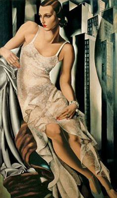 Portrait de Madame Allan Bott - 1930 - by Tamara de  Lempicka (Polish Art Deco painter, 1898-1980) note: geometry of background buildings