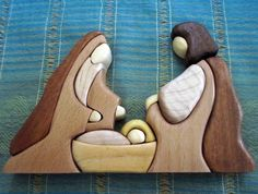 Exotic wood intarsia nativity set