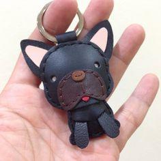 Leather Keychain - Duke the French Bull Dog Leather Charm ( Black )