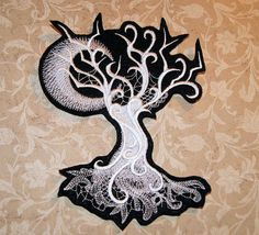 Ghost Spooky Tree Crescent Moon White Baroque Iron On Embroidery Patch MTCoffinz - Choose Size