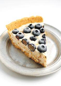 Frozen Blueberry Coconut Yogurt Pie Recipe shewearsmanyhats.com #pie