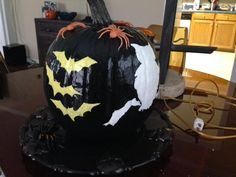 Mom painted this one too- Painted Bat and Owl Pumpkin - 2013 - Owl Pumpkin, Holidays, Mom, Holidays Events, Holiday, Mothers, Vacation, Annual Leave, Vacations