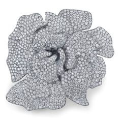 Martin Katz Gardenia Brooch set in titanium with 1,301 diamonds weighing a total of 39.29 carats