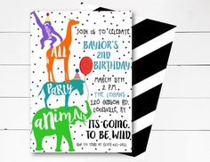 Party Animal Birthday Invitation, Zoo Birthday Invitation, Party Animal Invitation, Wild Animal Invitation, Safari Birthday, DIY or Printed by NOLALOULOU on Etsy