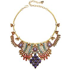 Dannijo Cale Necklace ($720) ❤ liked on Polyvore featuring jewelry, necklaces, accessories, jewels, gioielli, women, long charm necklace, long chain necklace, multicolor necklace and gold plated necklace