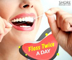 Flossing twice a day is important as it helps to remove plaque and food stuck between your teeth that your toothbrush cannot reach. Dental Implants, Dental Care, 20 Years, Clinic, Teeth, How To Remove, Day, Food, Dental Procedures