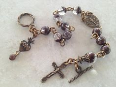 I handcraft heirloom quality gemstone rosaries in classical chain work. The rosary bead parts are vintage reproduction. Rosary Bracelet, Rosary Beads, Prayer Beads, Divine Mercy Chaplet, Spiritual Gifts, Sacred Heart, Bead Caps, Rosaries, Quartz