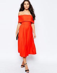 ASOS+Soft+Off+The+Shoulder+Bardot+Midi+Prom+Dress