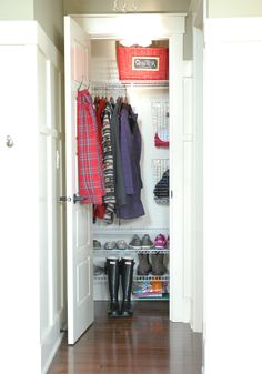 Add shoe shelving to coat closet instead of in kids' closets allowing more room for their toys there (and not in the middle of their rooms!)...plus it keeps the little ones from throwing their shoes everywhere!  Smart!
