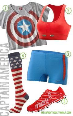 Captain America workout clothes. I would wear all but the shoes. I want captain reeboks yes!!