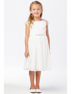 178f896d0676 Tip Top Kids 5733 White Mesh Sleeve Dress w/ Pleated Skirt & Jewel Belt.  Cute DressesGirls DressesFlower ...