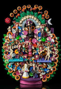 MUSEUM QUALITY TREE OF LIFE DAY OF THE DEAD HAND MADE METEPEC MEXICO SIGNED CLAY
