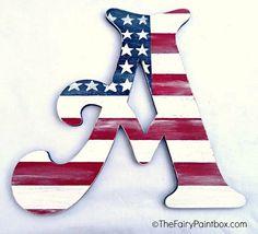 American Flag Distressed Painted Wood Wall by TheFairyPaintbox Patriotic Room, Patriotic Crafts, Patriotic Decorations, Americana Crafts, July Crafts, Nursery Monogram, Nursery Letters, Nursery Signs, Painted Wood Letters