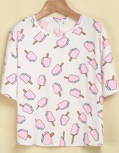 White Short Sleeve Popsicles Print T-Shirt