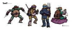 TMNT redesigns by Michael Dialynas.