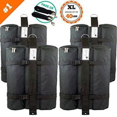 Camping Tent Accessories - SET of 4 LARGE Canopy Weight Bags FREE Hurricane Straps Heavy Duty Hold *** Check this awesome product by going to the link at the image. Camping And Hiking, Hiking Gear, Tent Camping, Camping Gear, Canopy Weights, Portable Canopy, Shade Tent, Instant Canopy