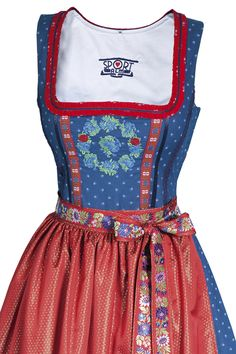 Such a lovely palette of classic red and blue. #dirndl #German #Austrian #traditional #folk #costume #dress #tracht
