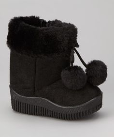 Take a look at this Black Faux Suede Pom-Pom Boot by Diamond Footwear on #zulily today!