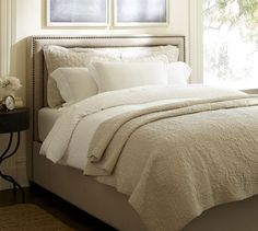 Tamsen Square Nailhead Bed & Headboard | Pottery Barn