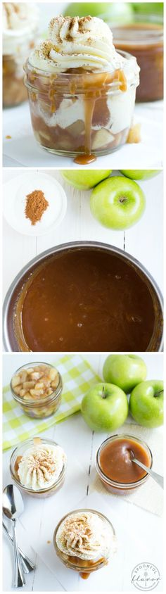 Caramel Apple Pie Sundae made with homemade vanilla bean ice cream, cinnamon apples, caramel sauce, whipped cream and a dash of cinnamon! Ice Cream Cupcakes, Ice Cream Desserts, Frozen Desserts, Just Desserts, Delicious Desserts, Dessert Recipes, Yummy Food, Apple Desserts, Frozen Treats