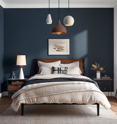 Home modern bedroom color schemes Ideas for 2019 Dark Accent Walls, Accent Wall Bedroom, Dark Bedroom Walls, White Bedroom, Bedroom Brown, Gray Walls, Bedroom Fireplace, Bedroom Ceiling, Blue Feature Wall Bedroom