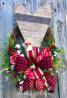 A personal favorite from my Etsy shop https://www.etsy.com/listing/581220005/valentines-wreath-heart-wreath