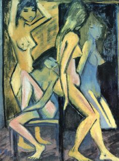 Otto Mueller - Three girls and a mirror (1921)
