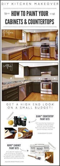 """Read More"""" DIY Kitchen Makeover on a Budget. Prior to as well as After. Giani…"""