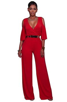 ff344df5ba8 Women Cold Shoulder Half Sleeve Long Jumpsuit Red Blue Sexy Deep V Neck Wide  Leg Playsuit Summer One Piece Club Jumpsuits