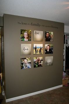 Great idea to do turn a blank wall into photos and words.