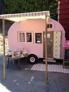 Miniature camper by Kim Saulter Tiny home house on wheels, pink travel trailer, glam glamour camping glamping, homemade awining, perfect little guest house. Vintage Caravans, Vintage Travel Trailers, Tiny Trailers, Camper Trailers, Retro Trailers, Retro Campers, Happy Campers, Retro Caravan, Caravan Shop