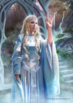 Galadriel & Celeborn for Fantasy Flight Games by Draženka Kimpel Tolkien, Elf Characters, Fantasy Characters, Elfen Fantasy, Wizard Robes, Elf Art, Female Elf, Wood Elf, Templer
